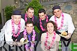 Enjoying the food at the Lane Bar, Ross Hotel Bar-B-Q on Friday night was l-r: Gerard Fogarty, Ciara Tracey. Back row: Ian McMonagle, Bart Skiemievski, Tom Lucey and Peter Prevvznak Killarney
