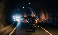 Christopher Juul-Jensen (DEN/ORICA-Scott) escorting a peloton of abandoned riders (via a short-cut) towards the finish<br /> <br /> Il Lombardia 2017<br /> Bergamo to Como (ITA) 247km