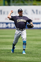 Scranton/Wilkes-Barre RailRiders third baseman Brandon Drury (29) warms up before a game against the Syracuse Chiefs on June 17, 2018 at NBT Bank Stadium in Syracuse, New York.  Syracuse defeated Scranton/Wilkes-Barre 4-2.  (Mike Janes/Four Seam Images)