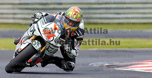 Gabor Talmacsi rides his bike during a public event of the Talmacsi MotoGP team on the Hungaroring racing track.