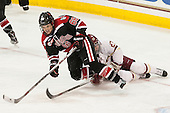 Ainsley MacMillan (NU - 66), Andie Anastos (BC - 23) - The Boston College Eagles defeated the Northeastern University Huskies 5-1 (EN) in their NCAA Quarterfinal on Saturday, March 12, 2016, at Kelley Rink in Conte Forum in Boston, Massachusetts.