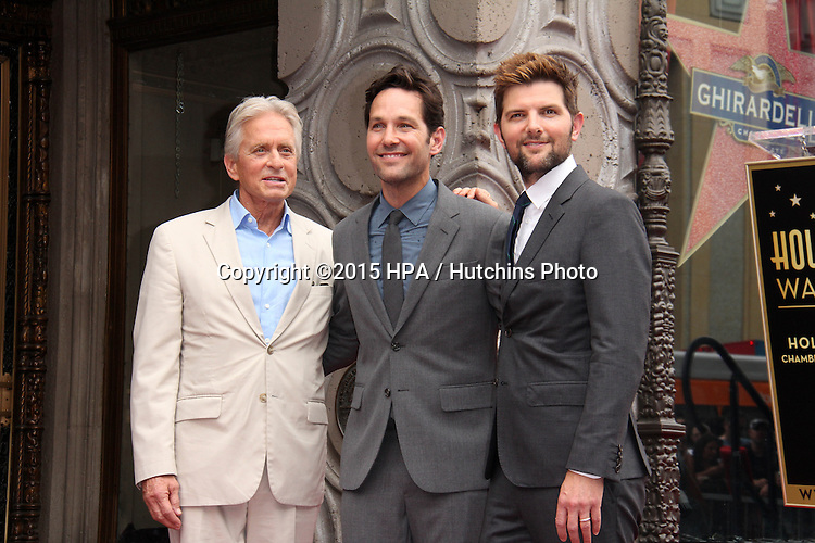 vLOS ANGELES - JUL 1:  Michael Douglas, Paul Rudd, Adam Scott at the Paul Rudd Hollywood Walk of Fame Star Ceremony at the El Capitan Theater Sidewalk on July 1, 2015 in Los Angeles, CA