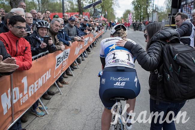 race winner Anna van der Breggen (NED/Boels Dolmans) after finishing <br /> <br /> La Fl&egrave;che Wallonne Feminine 2017 (1.WWT)<br /> One Day Race: Huy &rsaquo; Mur de Huy (120km)