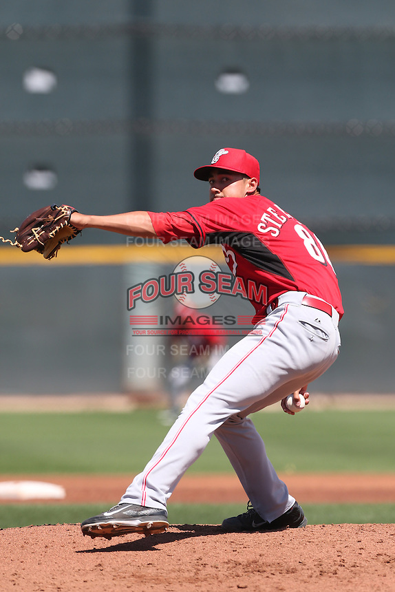 Robert Stephenson #86 of the Cincinnati Reds pitches during a Minor League Spring Training Game against the Cleveland Indians at the Cincinnati Reds Spring Training Complex on March 25, 2014 in Goodyear, Arizona. (Larry Goren/Four Seam Images)