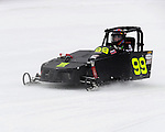 Ian Hodgson of Pembroke, ON races his sled in the Outlaw 600 class during the AMSOIL World Championship Snowmobile Derby, Jan. 19, 2014, at the Eagle River Derby Track, Eagle River, WI.