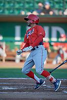 Cam Williams (25) of the Orem Owlz bats against the Ogden Raptors at Lindquist Field on June 26, 2018 in Ogden, Utah. The Raptors defeated the Owlz 6-5. (Stephen Smith/Four Seam Images)
