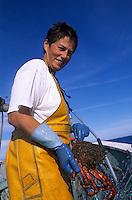 Europe/France/Bretagne/29/Finistère/Le Guilvinec: Scarlette Le Corre (femme pêcheur) lève ses filets [Non destiné à un usage publicitaire - Not intended for an advertising use]