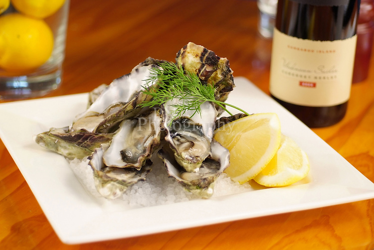 American River Oysters and False Cape wine both Kangaroo Island products photo was taken at All Seasoned Lodge American River