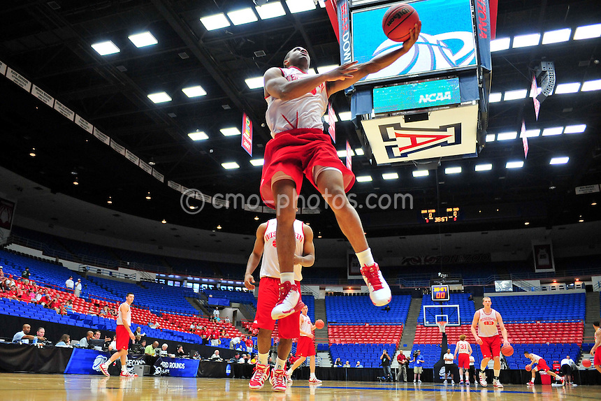Mar 16, 2011; Tucson, AZ, USA; Wisconsin Badgers guard Jordan Taylor (11) during a practice on the day before the second round of the 2011 NCAA men's basketball tournament at the McKale Center.