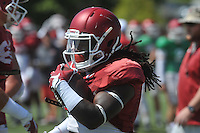NWA Democrat-Gazette/MICHAEL WOODS &bull; @NWAMICHAELW<br /> University of Arkansas running back Alex Collins runs drills during practice Thursday, August 20, 2015 in Fayetteville.