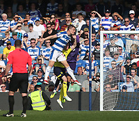 Queens Park Rangers' Matt Smith scores his side's first goal  <br /> <br /> Photographer Rob Newell/CameraSport<br /> <br /> The EFL Sky Bet Championship - Queens Park Rangers v Blackburn Rovers - Friday 19th April 2019 - Loftus Road - London<br /> <br /> World Copyright © 2019 CameraSport. All rights reserved. 43 Linden Ave. Countesthorpe. Leicester. England. LE8 5PG - Tel: +44 (0) 116 277 4147 - admin@camerasport.com - www.camerasport.com