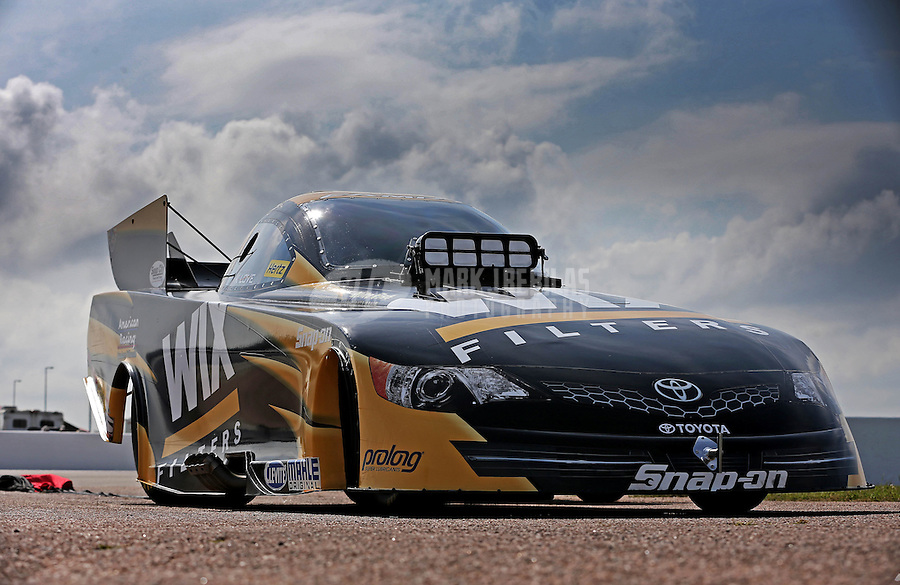 Apr. 26, 2013; Baytown, TX, USA: The car of NHRA funny car driver Tony Pedregon during qualifying for the Spring Nationals at Royal Purple Raceway. Mandatory Credit: Mark J. Rebilas-