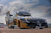 Apr. 26, 2013; Baytown, TX, USA: The car of NHRA funny car driver Tony Pedregon during qualifying for the Spring Nationals at Royal Purple Raceway. Mandatory Credit: Mark J. Rebilas-