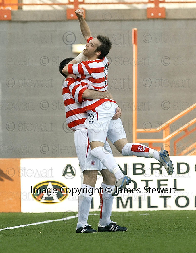 04/09/2004   Copyright Pic : James Stewart.File Name : jspa09_hamilton_v_stjohnstone.MARK CORRIGAN CELEBRATES SCORING FOR HHAMILTON....Payments to :.James Stewart Photo Agency 19 Carronlea Drive, Falkirk. FK2 8DN      Vat Reg No. 607 6932 25.Office     : +44 (0)1324 570906     .Mobile  : +44 (0)7721 416997.Fax         :  +44 (0)1324 570906.E-mail  :  jim@jspa.co.uk.If you require further information then contact Jim Stewart on any of the numbers above.........