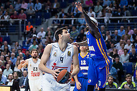 Real Madrid's Felipe Reyes and Khimki Moscow's Tyrese Rice during Euroleague match at Barclaycard Center in Madrid. April 07, 2016. (ALTERPHOTOS/Borja B.Hojas) /NortePhoto