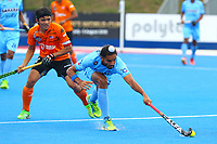 India's Akashdeep Singh controls the ball during the Hockey World League Quarter-Final match between India and Malaysia at the Olympic Park, London, England on 22 June 2017. Photo by Steve McCarthy.