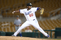 Glendale Desert Dogs pitcher Pedro Baez (60), of the Los Angeles Dodgers organization, during an Arizona Fall League game against the Peoria Javelinas on October 14, 2013 at Camelback Ranch Stadium in Glendale, Arizona.  Glendale defeated Peoria 5-1.  (Mike Janes/Four Seam Images)