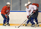 Kyle Palmieri (USA - 23), John Ramage (USA - 2), Luke Walker (USA - 14) - Team USA practiced at the Agriplace rink on Monday, December 28, 2009, in Saskatoon, Saskatchewan, during the 2010 World Juniors tournament.