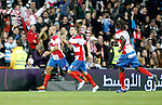 Granada's Mikel Rico and Guilherme Siqueira celebrate during La Liga Match. January 07, 2012. (ALTERPHOTOS/Alvaro Hernandez)