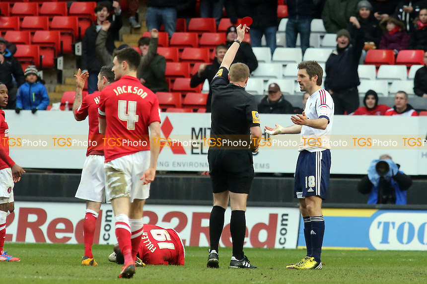 Samuel Ricketts of Bolton is shown the red card - Charlton Athletic vs Bolton Wanderers - NPower Championship Football at the Valley, London - 30/03/13 - MANDATORY CREDIT: Paul Dennis/TGSPHOTO - Self billing applies where appropriate - 0845 094 6026 - contact@tgsphoto.co.uk - NO UNPAID USE.