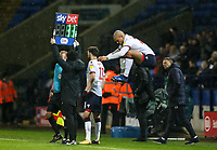 Bolton Wanderers' Josh Magennis preparing to come on as a substitute<br /> <br /> Photographer Andrew Kearns/CameraSport<br /> <br /> The EFL Sky Bet Championship - Bolton Wanderers v West Bromwich Albion - Monday 21st January 2019 - University of Bolton Stadium - Bolton<br /> <br /> World Copyright © 2019 CameraSport. All rights reserved. 43 Linden Ave. Countesthorpe. Leicester. England. LE8 5PG - Tel: +44 (0) 116 277 4147 - admin@camerasport.com - www.camerasport.com