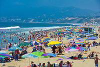 Santa Monica, CA,  Crowded Beach, Summer, Umbrellas, activities