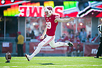 Wisconsin Badgers kicker Zach Hintze (39) kicks off during an NCAA Big Ten Conference football game against the Maryland Terrapins Saturday, October 21, 2017, in Madison, Wis. The Badgers won 38-13. (Photo by David Stluka)