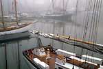 Boats in the fog, Camden, Maine, USA