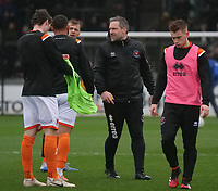 Blackpool caretaker manager David Dunn gives advice to the players during the pre match warm up <br /> <br /> Photographer Ian Cook/CameraSport<br /> <br /> The EFL Sky Bet League One - Bristol Rovers v Blackpool - Saturday 15th February 2020 - Memorial Stadium - Bristol<br /> <br /> World Copyright © 2020 CameraSport. All rights reserved. 43 Linden Ave. Countesthorpe. Leicester. England. LE8 5PG - Tel: +44 (0) 116 277 4147 - admin@camerasport.com - www.camerasport.com