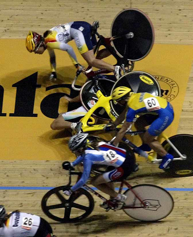 World track cycling championships, Melbourne.  Australia's Rochelle Gilmour  and Gema Pascual Torrecilla of Spain crash heavily during the 15 km scratch race.