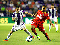 Real Valladolid´s Rukavina (l) and Getafe's  Diego Castro during La Liga match.August 31,2013. (ALTERPHOTOS/Victor Blanco)