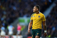 Israel Folau of Australia looks on during a break in play. Rugby World Cup Semi Final between Argentina v Australia on October 25, 2015 at Twickenham Stadium in London, England. Photo by: Patrick Khachfe / Onside Images