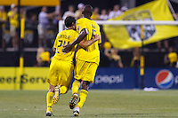 24 JULY 2010:  Jed Zayner of the Columbus Crew (24) and Andy Iro celebrate Andy Iro's goal during MLS soccer game between Houston Dynamo vs Columbus Crew at Crew Stadium in Columbus, Ohio on July 3, 2010. Columbus defeated the Dynamo 3-0.