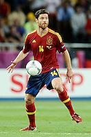 KIEV, UCRANIA, 01 JULHO 2012 - EU2012 FINAL - ESPANHA X ITALIA - Xabi Alonso jogador da Espanha durante partida contra a Italia na decisão da Euro 2012 entre Espanha e Itália, em Kiev, Ucrânia, neste domingo (01).  (FOTO: PIXATHLON / BRAZIL PHOTO PRESS).