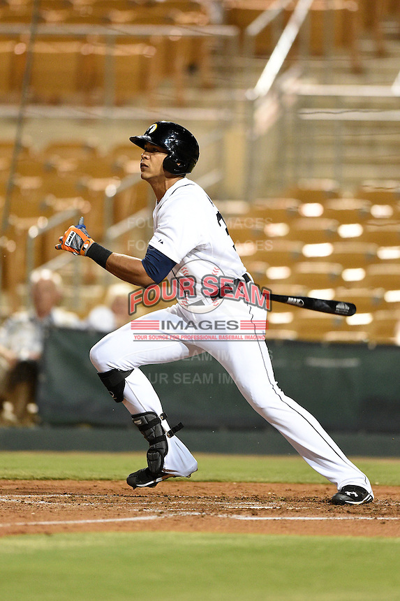Glendale Desert Dogs outfielder Steven Moya (33) during an Arizona Fall League game against the Surprise Saguaros on October 9, 2014 at Camelback Ranch in Phoenix, Arizona.  Surprise defeated Glendale 7-4.  (Mike Janes/Four Seam Images)