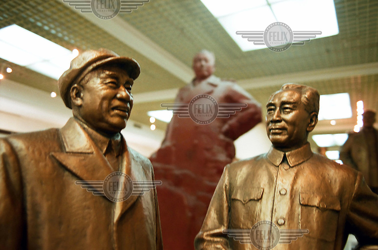 Statues of Mao, Zhou Enlai and other Communist leaders at the China People's Revolution Military Museum.