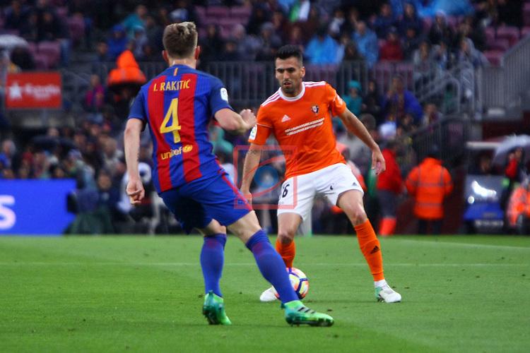 League Santander 2016/2017. Game: 34.<br /> FC Barcelona vs CA Osasuna: 7-1.<br /> Ivan Rakitic vs Fuentes.