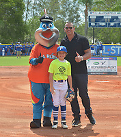 MIAMI, FL - JULY 11: Billy The Marlins, J.J. Gomez and Alex Rodriguez (A-Rod) attends the All-Star Week Legacy Project with A-Rod & Giancarlo Stanton at Boys & Girls Clubs of Miami-Dade on July 11, 2017 in Miami, Florida. Credit: MPI10 / MediaPunch