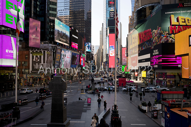 New York, New York<br /> March 18, 2020<br /> 10:47 AM<br /> <br /> Manhattan under coronavirus pandemic. <br /> <br /> Times Square void of most tourists.