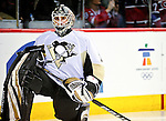 6 February 2010: Pittsburgh Penguins' goaltender Brent Johnson warms up prior to a game against the Montreal Canadiens at the Bell Centre in Montreal, Quebec, Canada. The Canadiens defeated the Penguins 5-3. Mandatory Credit: Ed Wolfstein Photo