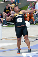 Missouri red shirt freshman Kearsten Peoples spins in the ring during the shot put at the 2012 Big 12 Outdoor Track and Field Championships Saturday at R. V. Christian Track Complex at Kansas State University. Peoples placed second with a mark of 57-11 and improved on her own school record by 9 inches. Peoples came into the weekend in a tie for 5th on the NCAA Division I performance list.