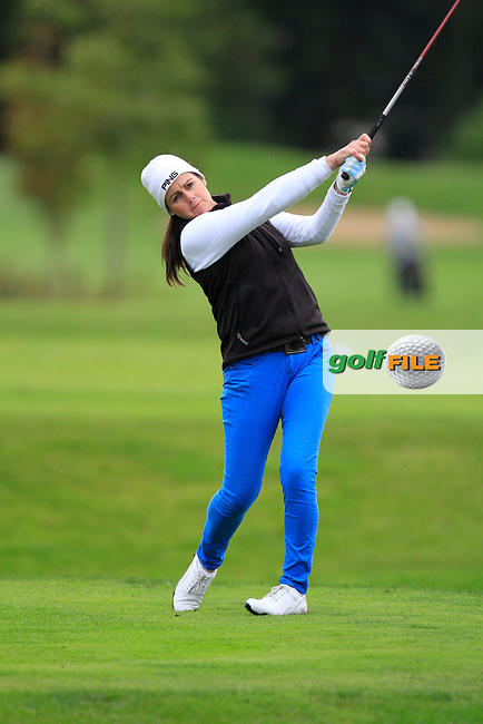 Hazel Kavanagh (Carr Golf Services) on the 15th tee during Round 4 of The Cassidy Golf 103rd Irish PGA Championship in Roganstown Golf Club on Sunday 13th October 2013.<br /> Picture:  Thos Caffrey / www.golffile.ie
