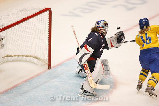 Trent Nelson  |  The Salt Lake Tribune.USA vs. Sweden, women's hockey, at the XXI Olympic Winter Games in Vancouver, Monday, February 22, 2010. USA's Jessie Vetter, Sweden's Pernilla Winberg
