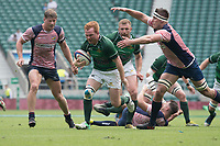Twickenham, Lancashire, 27th May 2018. Bill Beaumont Division 1 Final, Tom Banks, breaks with the ball Rob CONQUEST, reaching out to tackle, during the Rugby Match,  Lancashire vs Hertfordshire,    RFU. Stadium, Twickenham. UK.  <br /> <br /> &copy; Peter Spurrier/Alamy  Live News