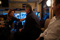 Gail Huff adjusts her husband's outfit before a campaign stop in Wakefield, Massachusetts, USA, on Thurs., Nov. 2, 2012. Senator Scott Brown is seeking re-election to the Senate.  His opponent is Elizabeth Warren, a democrat.