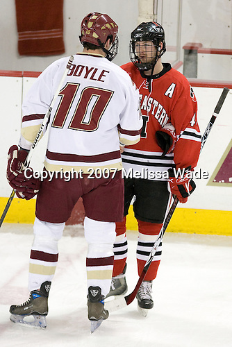 Brian Boyle (BC - 10), Steve Birnstill (Northeastern - 44) - The Boston College Eagles defeated the visiting Northeastern University Huskies 7-1 on Friday, March 9, 2007, to win their Hockey East quarterfinals matchup in two games at Conte Forum in Chestnut Hill, Massachusetts.