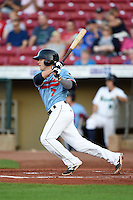 Cedar Rapids Kernels second baseman Tanner Vavra (7) at bat during a game against the Quad Cities River Bandits on August 19, 2014 at Perfect Game Field at Veterans Memorial Stadium in Cedar Rapids, Iowa.  Cedar Rapids defeated Quad Cities 5-3.  (Mike Janes/Four Seam Images)