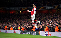 Aaron Ramsey of Arsenal celebrates his second goal  during the UEFA Europa League QF 1st leg match between Arsenal and CSKA Moscow  at the Emirates Stadium, London, England on 5 April 2018. Photo by Andrew Aleksiejczuk / PRiME Media Images.