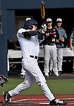 February 22, 2013: Nevada Wolf Pack first basemen Kewby Meyer swings against the Northern Illinois Huskies during their NCAA baseball game played at Peccole Park on Friday afternoon in Reno, Nevada.