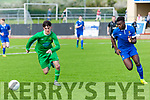 In Action Kerry's Martin Coughlan and Waterford's Regix Madika at the   SSE Airtricity U17 League 2017 Kerry V Waterford Fc at Mounthawk Park Tralee on Sunday